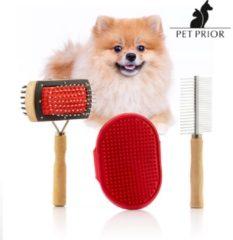 Rode B-Deal Collection Pet Prior Borstelset voor Honden (3 Stuks)