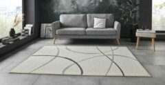 Creme witte Tapeso Vloerkleed retro Abstract Circles - crème 180x260 cm