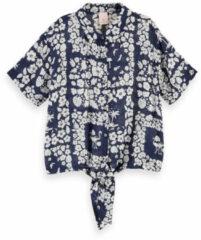 Scotch & Soda blouse met all over print donkerblauw/ecru
