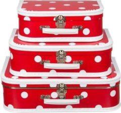 Fun & Feest Party Gadgets Decoratie koffertje rood polka dot 30 cm