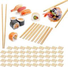 Naturelkleurige Relaxdays 500 paar bamboe eetstokjes - chopsticks - 24 cm lang - eet stokjes – bruin
