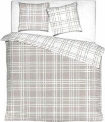 Mistral Home - dekbedovertrek - 100% flanel katoen - 140x200 cm + 65x65 cm - met flessenhals - grijs
