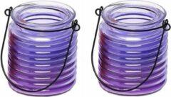 Merkloos / Sans marque 3x Citronellakaarsen in paars geribbeld glas 7,5 cm - Insecten verjagen - Geurkaarsen