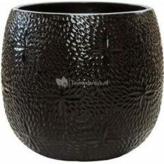 Ter Steege Pot Marly Black ronde zwarte bloempot voor binnen en buiten 41x38 cm