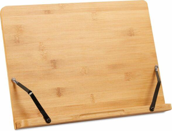 Afbeelding van Relaxdays kookboekstandaard - boekenstandaard - kookboekhouder - verstelbaar - bamboe