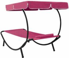 VidaXL Loungebed met luifel en kussen roze