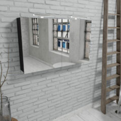Zaro Beam mat zwarte spiegelkast 120x70x16cm 2 deuren