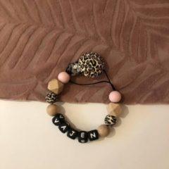 Roze Kjoett Speenkoord met Naam - Leopard- Pink