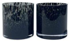 Zwarte Vase The World Grey Cheetah vaas Celtic - waxinelichtjes - 12 cm bij 12 cm - 2 stuks