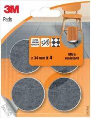 Beige 17x 3M beschermende vloerpads, uit vilt, diameter 34mm, blister a 4 stuks