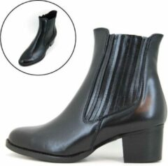 Stravers Grote Maten Schoenen Stravers - Maat 42 Chelsea Boots Dames met Hak Zwart Leer Enkellaarzen Grote Maten