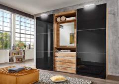 Fresh To Go Schwebetürenschrank mit drehbarer Spiegeltür, Außentüren mit Glas