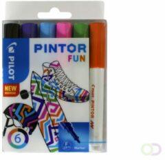 Pilot Pintor Creative Markeerstiften Fijn Ronde Punt Kleurenassortiment 6 Stuks