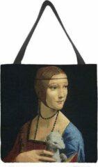 Zwarte Signare Boodschappentas groot - De dame met de Hermelijn - Leonardo Da Vinci