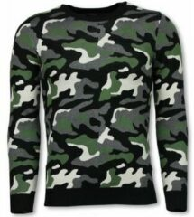 Justing Military Trui - Camouflage Pullover - Groen Truien Heren Trui Maat XL