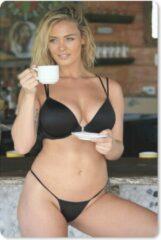MousePadParadise Muismat Bikini Babes - Een jonge vrouw in een zwarte bikini met een kopje koffie muismat rubber - 18x27 cm - Muismat met foto