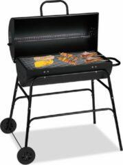 Relaxdays houtskool bbq - verrijdbaar - houtskoolbarbecue met deksel - kolen bbq - zwart