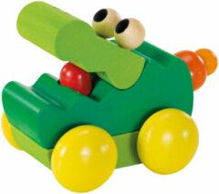 Selecta Spielzeug Selecta Speelgoedauto Zoolini Krokodil Junior 8 Cm Hout Groen