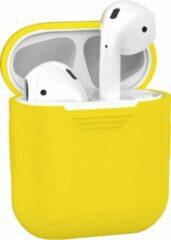 AIR ® Airpods Silicone Case Cover kwaliteit Ultra Dun Hoesje speciaal geschikt voor draadloos merk Apple Airpods 1 / 2 oplaadcase Lightning connector| kleur Geel - Yellow