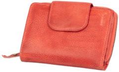 Portemonnee dames Mika leer met verschillende compartimenten, kleur rood JU-80112604