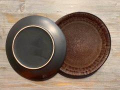 Antraciet-grijze Imperial Kitchen Serviesset Samos - 18-delig - Koffiebruin en antraciet