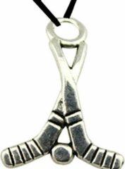 Zilveren Charme Bijoux Hockey- Ketting- Zwart- koord- 50 cm