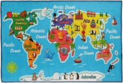 Blauwe Relaxdays speelkleed wereldkaart - 150 x 100 cm - speeltapijt - speelmat - kinderkamer