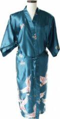 TA-HWA Kimono met Kraanvogels Turquoise Dames Nachtmode kimono L