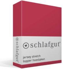 Schlafgut Jersey Stretch Topper Hoeslaken - 95% Gebreide Katoen - 5% Elastan - Lits-jumeaux (180/200x200/220 Cm) - Rood