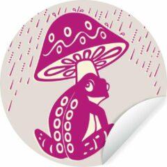 WallCircle Wandcirkel Kikker illustratie - Kleurrijke illustratie van een kikker onder een padenstoel - ⌀ 140 cm - rond schilderij - behangcirkel - muurcirkel - wooncirkel - zelfklevend & rond uitgesneden