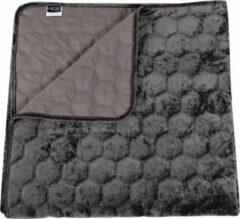Donkergrijze Unique Living Peggy - Bedsprei - Lits-jumeaux - 240x280 cm - Dark grey