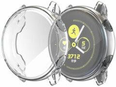 Transparante Softcase + Screenprotector voor de Samsung Galaxy Watch Active 2 - 44 mm - Zwart