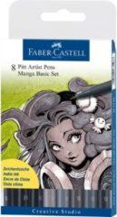 Zwarte Faber Castell Tekenstift Faber-Castell Pitt Artist Pen Manga 8-delig etui Basic