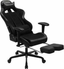 ''merkloos'' Bureaustoel met voetensteun - Gaming Chair - Ergonomisch - Comfortabel - Kunstleer/Staal - Zwart - 69x70,5x138