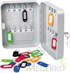 Grijze Perel sleutelkastje voor 20 sleutels Grijs - 16 x 20 x 60 cm - met 20 sleutelhangers