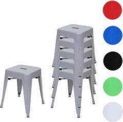 Heute-wohnen 6x Hocker HWC-A73, Metallhocker Sitzhocker, Metall Industriedesign stapelbar