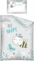 Detexpol Ledikant baby dekbedovertrek - Bee happy - grijs met mint groen - 100% katoen