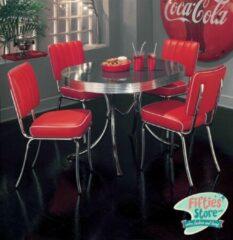 Bel Air Retro Fifties Furniture Bel-Air Retro Dinner Set Rood II 4 X Stoel model CO25 (Rood) 1 X Tafel model TO26 (Blackstone)