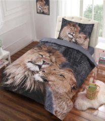 Cotton Club Dekbedovertrek Lion Love Antaciet|Taupe - Eenpersoons-140 x 220-cm + 1 kussensloop 60x70cm