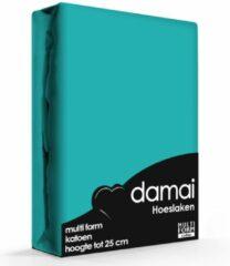 Hoeslaken katoen 80-90-100 x 200/210 (63) turquoise multiform (1 pers.) Damai