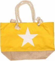 Merkloos / Sans marque Gele strandtas met witte ster 55 cm - Strandtassen/schoudertassen gele - Shoppers/zomer tassen