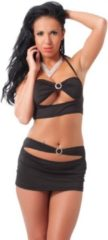 Rimba Amorable Sexy topje en mini rokje met strass decoratie en blote buik - zwart