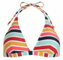 ESPRIT Women Beach gestreepte triangel bikinitop geel/lichtblauw/rood