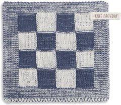 Knit Factory Pannenlap Block - Ecru/Jeans