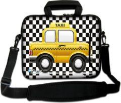 Gele False Sleevy 15,6 laptoptas taxi - laptophoes voorvak - laptop sleeve - smalle laptoptas - reistas - schoudertas - schooltas - heren dames tas - tas laptop