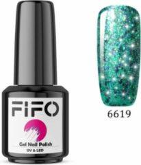 FIFO Nails, Elite Platinum Thermo Gel Polish - Thermo Gellak - Temperatuurgevoelige nagellak - Thermische nagellak - Temperatuur veranderende - Kleur veranderende - XL - #019 ( Groen - Blauw - Paars - Mermaid – Glinsterend) (Platinum) - UV & LED