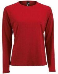 Rode T-Shirt Lange Mouw Sols SPORT LSL WOMEN