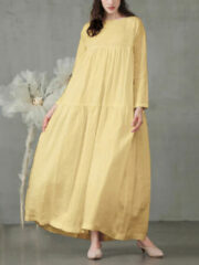 Newchic Casual Solid Color A-line Loose Long Sleeve Plus Size Dress