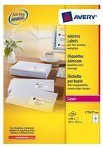 Avery witte laseretiketten QuickPeel doos van 100 blad ft 99,1 x 33,9 mm (b x h), 1600 stuks, 16 per blad