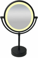 Douche Concurrent Cosmeticaspiegel Wiesbaden 20x20cm Geintegreerde LED Verlichting Kantelbaar 5x Vergroting Lichtschakelaar Mat Zwart op Batterijen